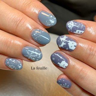 #冬 #クリスマス #ラメ #星 #ノルディック #雪の結晶 #水色 #ブルー #パープル #ジェル #お客様 #Lafeuille(ラ・フィーユ) #ネイルブック