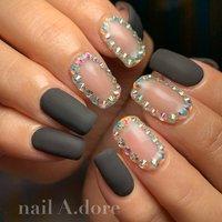 #nail #nails #naildesign #nailart #nailstagram #nailswag #nailsalon #nailaddict #ネイル #ネイルアート #ネイルデザイン #네일아트 #네일 #ハンド #シンプル #ビジュー #マット #ミディアム #ブラック #nail A.dore #ネイルブック