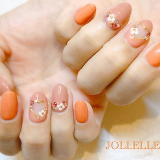 #ハンド #くりぬき #ピンク #オレンジ #JOLI.ELLE【ジョリエル】 #ネイルブック
