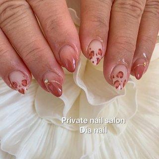 #秋 #冬 #ハンド #グラデーション #アニマル柄 #レオパード #Private nail salon Dia nail #ネイルブック