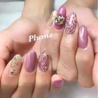 #マグネットネイル #マグネット #ピンク #ビジュー #キラキラ #キラキラネイル #冬ネイル2019 #ハンド #ツィードネイル #ツイード #大人可愛いネイル #可愛い #nail salon Plume #ネイルブック