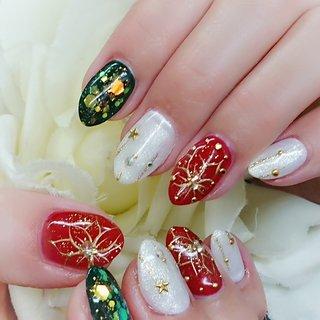 #冬 #ハンド #フラワー #ノルディック #ミディアム #ホワイト #レッド #ネイビー #ジェル #お客様 #nail salon shell #ネイルブック