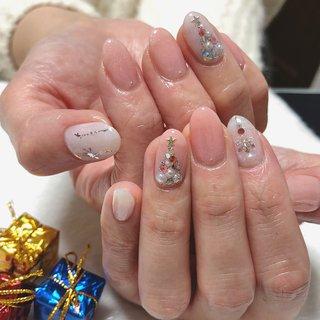 #クリスマス #ピンク #冬 #クリスマス #ハンド #Sweet puff #ネイルブック