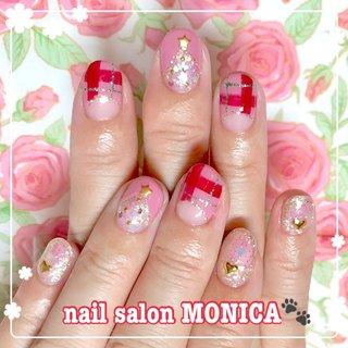 赤チェックのクリスマスネイル😻 #クリスマスネイル #クリスマス #ピンク #nail salon MONICA 🐾 #ネイルブック