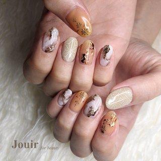 #ハンド #アンティーク #大理石 #ニュアンス #和 #ベージュ #ブラウン #ゴールド #Jouir for beauty - hair nail eyelash- #ネイルブック