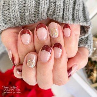 #冬 #クリスマス #フレンチ #luludynail #ネイルブック