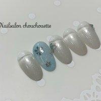 #ハンド #グラデーション #雪の結晶 #ホワイト #水色 #ジェル #Nailsalon_chouchouette #ネイルブック