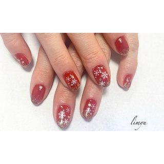 #雪の結晶ネイル#冬ネイル#人気ネイル#ネイル#赤ネイル#キラキラネイル#クリスマスネイル#派手ネイル #冬 #クリスマス #パーティー #ハンド #ワンカラー #雪の結晶 #レッド #ボルドー #ジェル #お客様 #yukiko #ネイルブック