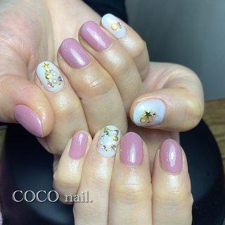 #クリスマス #ハンド #ホワイト #ピンク #coco.nail3.1 #ネイルブック