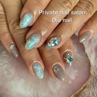 #冬 #バレンタイン #クリスマス #ハンド #ラメ #グラデーション #ノルディック #雪の結晶 #Private nail salon Dia nail #ネイルブック
