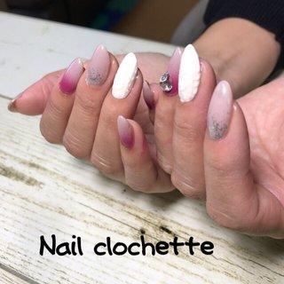 #友達ネイル #ニットネイルデザイン #根元グラデーション #エアジェルグラデーション #Nail clochette #ネイルブック