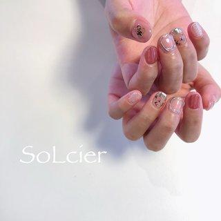 #ハンド #フラワー #ニュアンス #【SoLcier】ソルシエ #ネイルブック