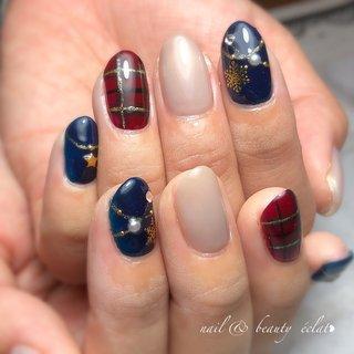 #冬ネイル#雪ネイル#チェックネイル#ネックレスネイル #nail & beauty éclat❥ #ネイルブック