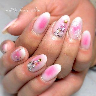 #チークネイル#ツリーネイル#雪ネイル#冬ネイル#結晶ネイル #nail & beauty éclat❥ #ネイルブック