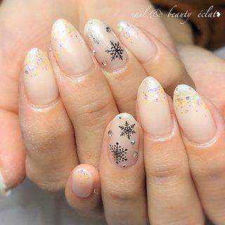 #冬ネイル#雪ネイル #グラデーションネイル#ホロネイル#オーロラホロ #nail & beauty éclat❥ #ネイルブック