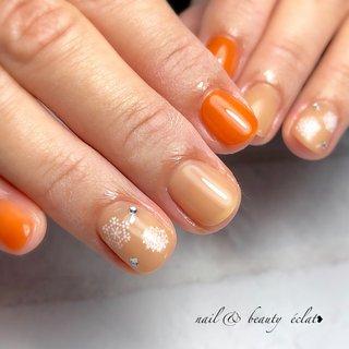 #ショートネイル#ワンカラーネイル#雪ネイル#冬ネイル #nail & beauty éclat❥ #ネイルブック