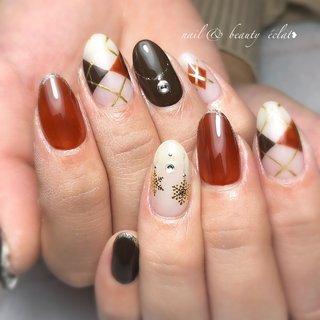 #冬ネイル#アーガイルネイル#雪ネイル #nail & beauty éclat❥ #ネイルブック