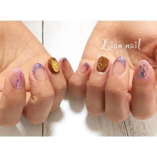 popなデザインに仕上がりました☺︎ お菓子🍬みたいでかわいいです🥰  #ネイル#ネイルデザイン#ネイルアート#ジェル#ジェルネイル#アート#個性派ネイル#pop#かわいい#原宿系ネイル#フレンチ #オールシーズン #ハンド #フレンチ #ホイル #ショート #ピンク #パープル #ゴールド #ジェル #Lian nail #ネイルブック