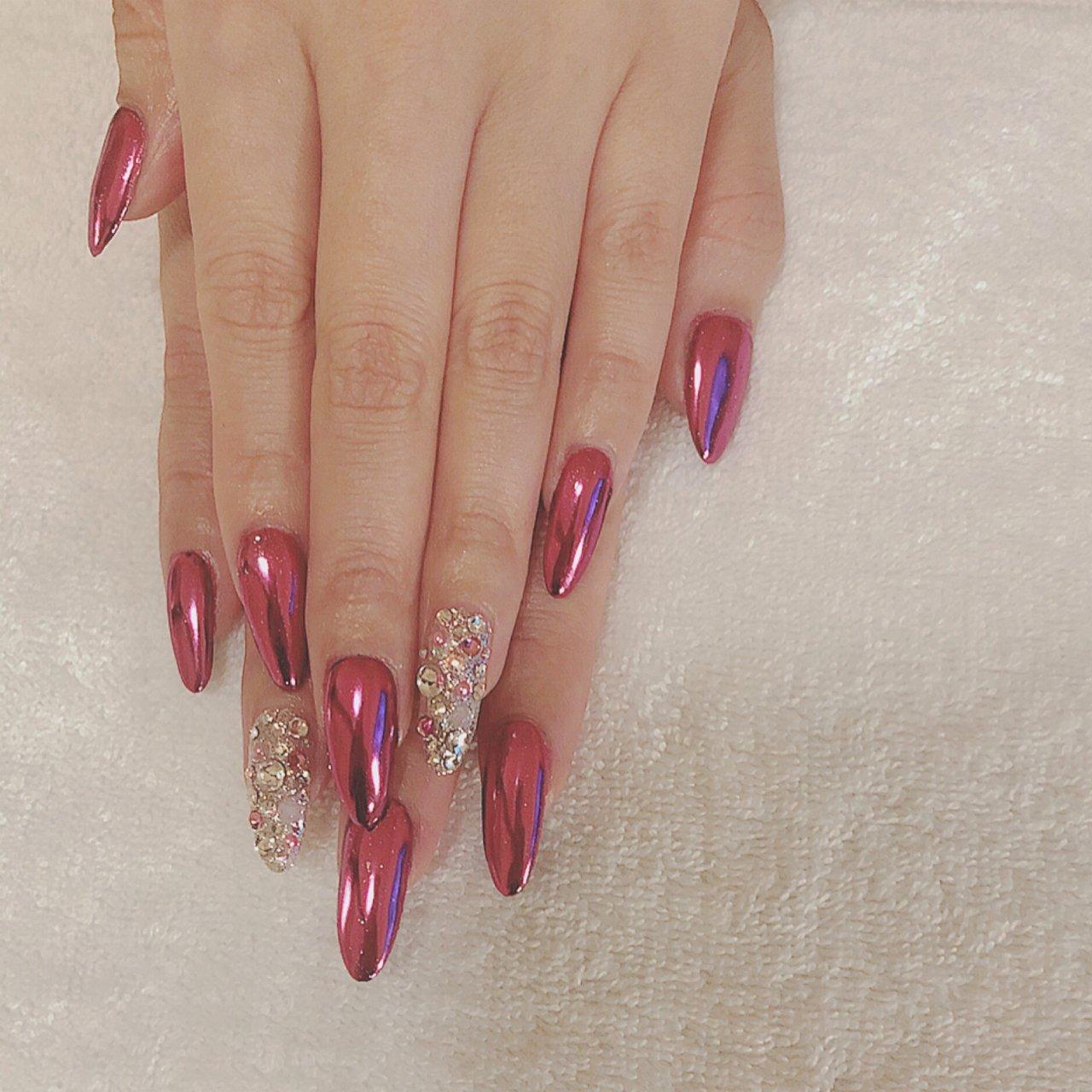 ピンクミラー💅🏼 #ピンク #ピンクミラーネイル #ミラー #オールシーズン #パーティー #デート #女子会 #ハンド #ワンカラー #ミラー #ロング #ピンク #シルバー #ジェル #お客様 #爪~SOSHINE~【ツメ ソウシャイン】 #ネイルブック