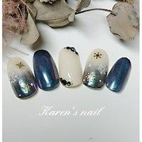 1月グランコースデザイン #冬 #パーティー #女子会 #ハンド #ビジュー #雪の結晶 #ミラー #ミディアム #ベージュ #ネイビー #ジェル #ネイルチップ #karen's nail rierin #ネイルブック