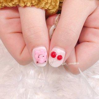 プリン🙂🍒   #ネイル #ジェルネイル #ネイルアート #nail #nails #nailart #gelnail #福岡ネイル #福岡ネイルサロン #大牟田ネイル #美甲 #ポケモンネイル #さくらんぼネイル #キャラクター #3D #フルーツ #saki_cinnamon #ネイルブック