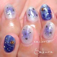 #Nailbook #ハンド #ラメ #星 #チーク #ホワイト #ブルー #ジェル #お客様 #Sakura_ #ネイルブック