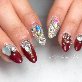 #キラキラネイル#派手ネイル#ボルドーネイル#埋め込みネイル#ビジュー #nail & beauty éclat❥ #ネイルブック