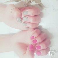 左グレー×右ピンク #2020ねずみ年 #グレー #ピンク #ねずみネイル #ハンド #ショート #ピンク #グレー #ゆうり #ネイルブック