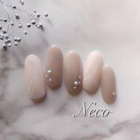 #ハンド #ワンカラー #大理石 #ベージュ #ジェル #ネイルチップ #nail salon Neco #ネイルブック