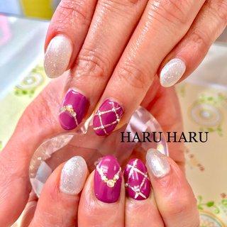 #パーティー #パーティーネイル #ピンク #ピンクネイル #チェック #チェックネイル #ネックレス #エレガンス #エレガントネイル#大人ネイル #大人上品ネイル #大人可愛い #大人気 #salon_haru_haru #ネイルブック