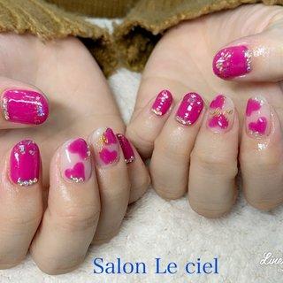 #ハンド #ピンク #ハート #ラブリー #オールシーズン #成人式 #バレンタイン #ハンド #ショート #ピンク #Salon_Le_ciel #ネイルブック