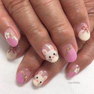 ミセスネイル。#干支ネイル #お正月 #キャラクター #ホワイト #ピンク #LaniNails #ネイルブック