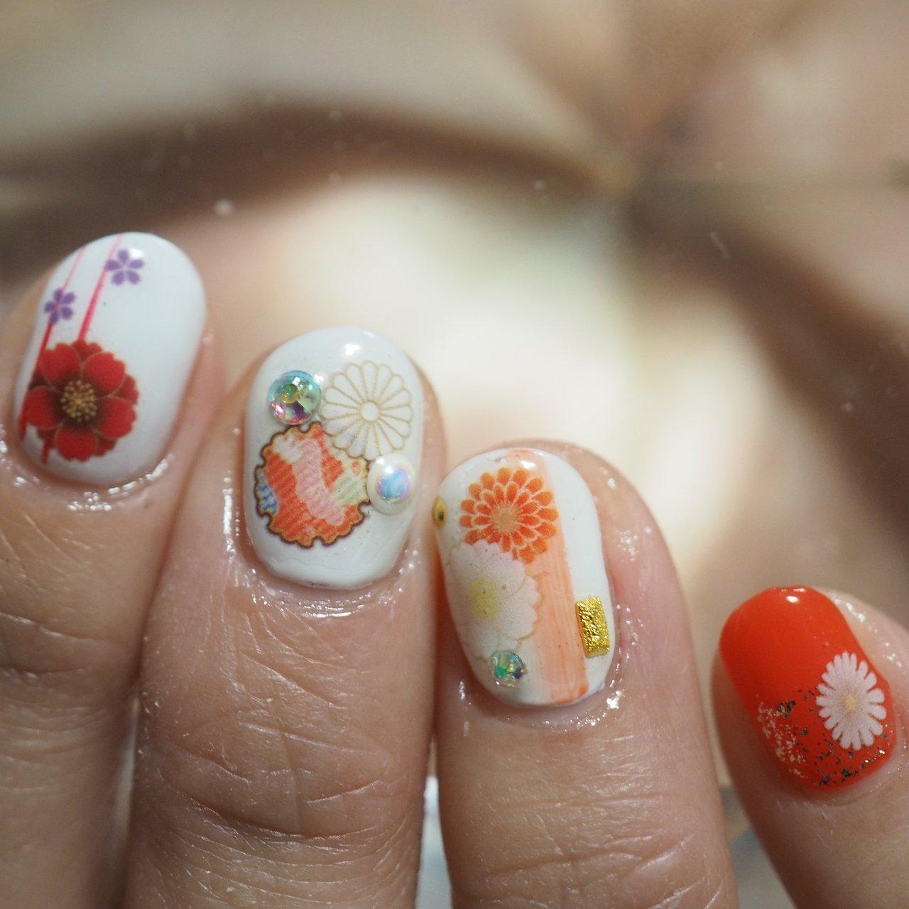 #ハンド #和 #ホワイト #オレンジ #ジェル #お客様 #そらみ #ネイルブック