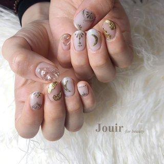 #ハンド #アンティーク #ボヘミアン #ニュアンス #ホワイト #ベージュ #ゴールド #Jouir for beauty - hair nail eyelash- #ネイルブック