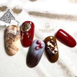 #バレンタインネイル#バレンタイン#チョコレート#チョコケーキ#ベリー#金箔#マーブル#粉砂糖#スイーツ #冬 #バレンタイン #デート #シンプル #シュガー #フルーツ #スイーツ #レッド #ボルドー #ブラウン #CreamPuff #ネイルブック