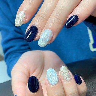 #冬 #ハンド #ワンカラー #ノルディック #雪の結晶 #ミディアム #水色 #ネイビー #グレージュ #ジェル #お客様 #Twinkle Star Akiko #ネイルブック