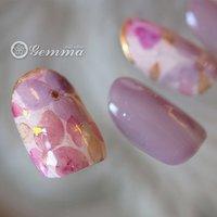 フラワーネイル #フラワー #ピンク #パープル #Gemma #ネイルブック