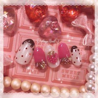 #バレンタインネイル2020#バレンタインネイル#いちごネイル#かわいいネイル #チョコネイル #ラメ #ハート #3D #スイーツ #フルーツ #ピンク #ブラウン #AngeNail #ネイルブック