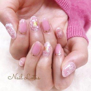 #ピンクネイル#雪の結晶#冬ネイル #冬 #パーティー #デート #女子会 #ハンド #シンプル #チーク #雪の結晶 #ショート #ホワイト #クリア #ピンク #ジェル #お客様 #Nail Lotus #ネイルブック