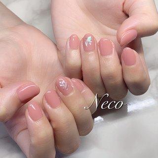 #ハンド #ワンカラー #シェル #ピンク #ジェル #お客様 #nail salon Neco #ネイルブック