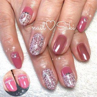 #ツイード #ツイードネイル #ミラーネイル #ミラー #ピンク #ピンクネイル #オールシーズン #入学式 #変形フレンチ #ツイード #ホワイト #ピンク #nail♡Saki #ネイルブック