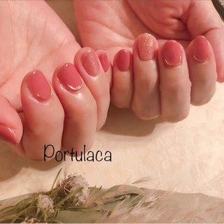 ピンクネイル♡  #シンプル #ピンク   ワイヤーパーツがアクセントでが可愛いですね〜♬  いつもありがとうございます♡ #ラメ #ワンカラー #クリア #ピンク #Portulaca #ネイルブック
