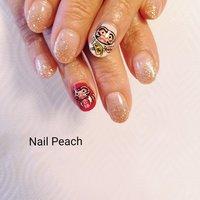 #だるまネイル #Nail Peach #ネイルブック