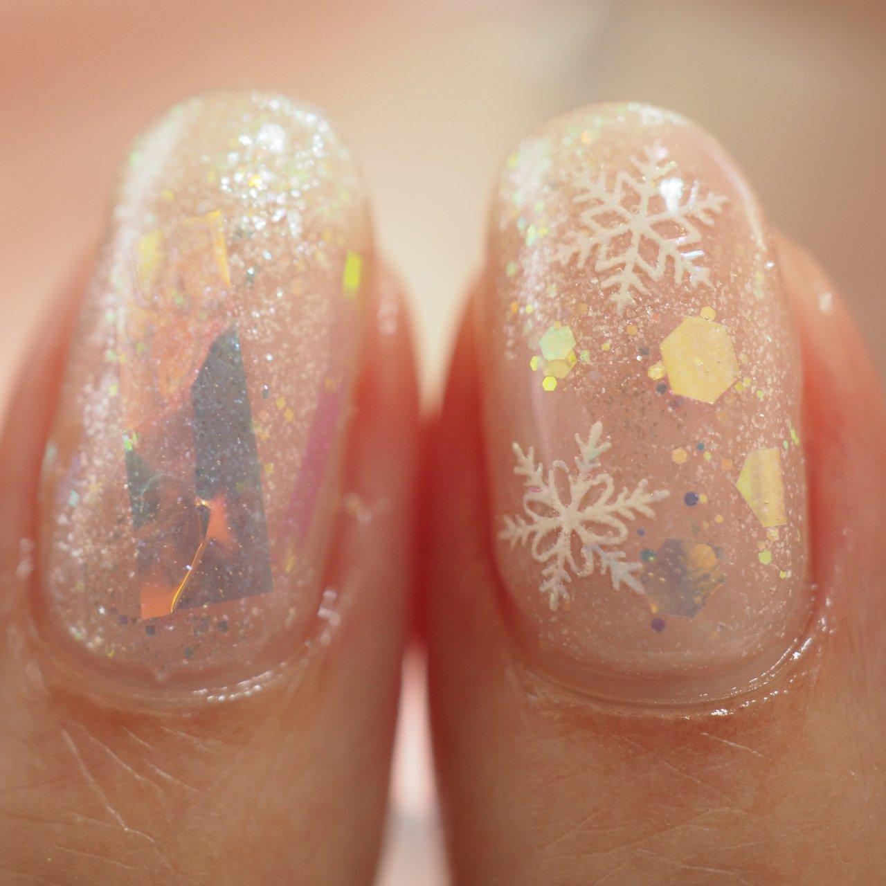 #冬 #ハンド #ラメ #オーロラ #ピンク #ジェル #お客様 #そらみ #ネイルブック