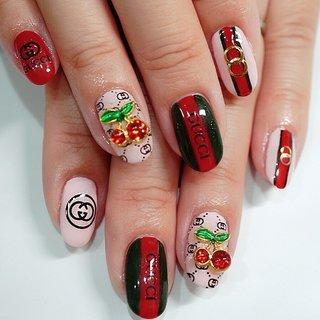 #GUCCI#ブランドネイル#ロゴネイル#かわいい#ピンク #ange nail salon #ネイルブック