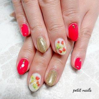 #ハンド #ラメ #フルーツ #ピンク #ゴールド #ジェル #お客様 #petit_nails -プチネイルズ- #ネイルブック