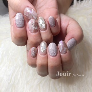 #ハンド #フラワー #大理石 #ニュアンス #雪の結晶 #ホワイト #パープル #グレー #Jouir for beauty - hair nail eyelash- #ネイルブック