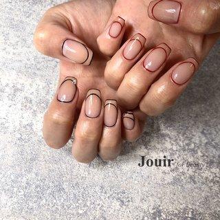 #ハンド #シンプル #フレンチ #変形フレンチ #シースルー #ベージュ #レッド #ブラック #Jouir for beauty - hair nail eyelash- #ネイルブック