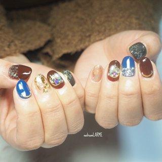 #美容師さんネイル #派手ネイル #盛り盛りネイル #ボルドー #ブルー #ブラック #ラメ #スワロフスキー #キラキラ #ビジューネイル #nailroomLARME #ネイルブック
