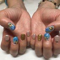 #海ネイル #夏ネイル #貝殻ネイル #海 #夏 #貝殻 #水色ネイル #夏 #海 #ハンド #シェル #スターフィッシュ #マリン #人魚の鱗 #みさきち #ネイルブック